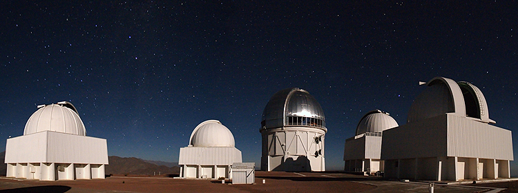 The Blanco telescope in Chile as seen at nighttime. Credit: T. Abbott and NOAO/AURA/NSF
